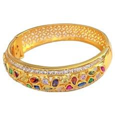 Hinged Goldtone Open Designed Bracelet with Colorful Rhinestones
