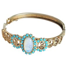 Hinged Filigree Silvertone Etched Bracelet with Turquoise and White Front