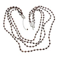 Sparkling Multi Strand Brown Glass Necklace