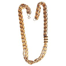 Multi Strand Goldtone Chain Necklace with Three Oval Accents