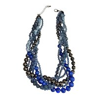 Multi Strand Gray, Black and Blue Beaded Necklace