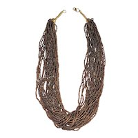 Multi Strand Sparkling Brown Glass Beaded Necklace