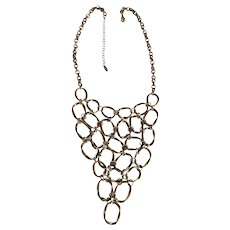 Oval Linked Drop Front Brass Necklace