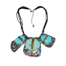 STATEMENT PIECE Silvertone Bib Necklace with Large Faux Turquoise