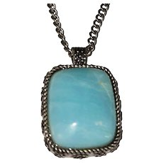 LUCKY BRAND signed Polished Blue Stone with Silvertone Necklace