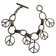 Peace Sign Brass Charm Bracelet with Toggle Clasp