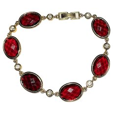 Red and Goldtone Bracelet with Pretty Clear Rhinestones