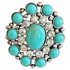 Wide Hinged Silvertone and Faux Turquoise Flower Bracelet with Rhinestones