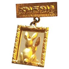 JJ Signed Cute Bunny Rabbit Looking in the Mirror Goldtone Brooch