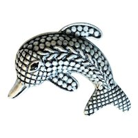 Dolphin Silvertone Brooch with Pretty Etched Design