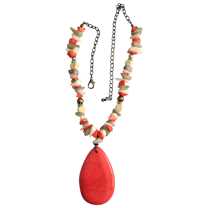 New Long Necklace in Orange Beige Yellow and White with Orange Stones /& Shells