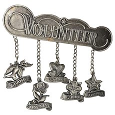 VOLUNTEER Pewter Bar Brooch with Dangling Charms