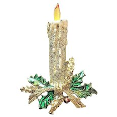 GERRYS signed Christmas Candle Pin Brooch