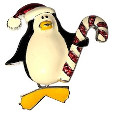 Christmas Penguin  Pin Brooch with Moving Feet