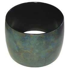 Wide Dark Gray and Blue Acrylic Bangle Bracelet
