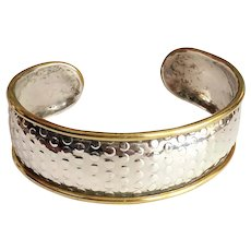 MEXICO signed Silver Cuff Bracelet with Pretty Brass Edges