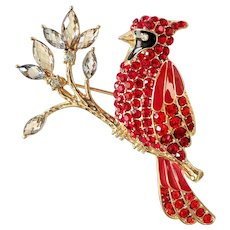 ANNE KLEIN signed Cardinal Red Rhinestone and Goldtone Brooch