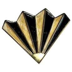 MONET signed Black, Cream and Goldtone Fan Brooch
