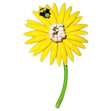 Enameled Yellow Flower Brooch with Pretty Green Stem and Little Beetle