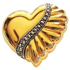Heart Goldtone Brooch with Pretty Silvertone Accent