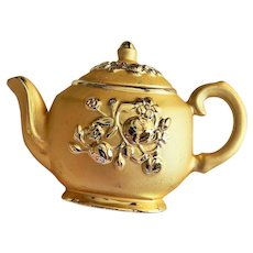 AJC  signed  Teapot with Flowers Goldtone Brooch with Music Box on the Back