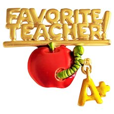 JJ signed Favorite Teacher Goldtone Brooch with Apple with A+ Charm