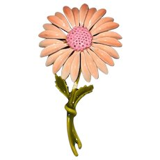 Enameled Pink Flower Brooch with Pretty Green Stem and Leaves