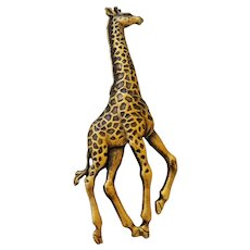 Standing Giraffe Brass Brooch