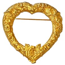 JJ signed Open Heart Goldtone Brooch with Pretty Etched Flowers