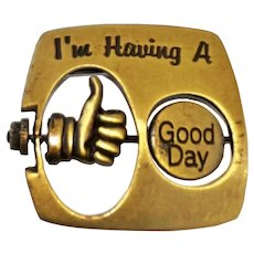 JJ signed Having a GOOD / BAD Day Brass Pin Brooch