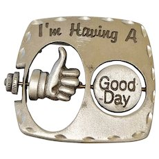 JJ signed Having a GOOD / BAD Day Pewter Pin Brooch