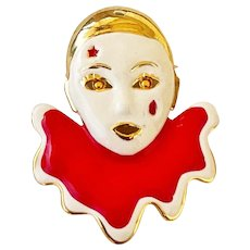 Enameled Red and White Clown Brooch