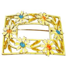 ART signed Rectangle Yellow Flower Enameled Brooch