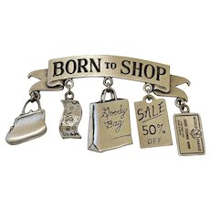 JJ signed Born To Shop Pewter Pin Brooch with Pretty Charms