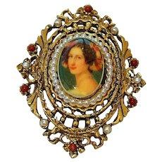 ART signed Elegant Woman Framed in Goldtone Brooch