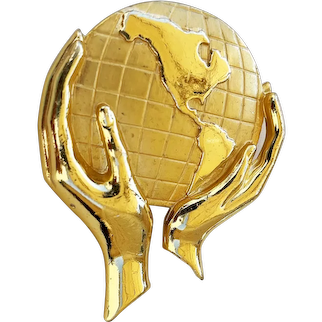 Hands Holding the World Goldtone Brooch