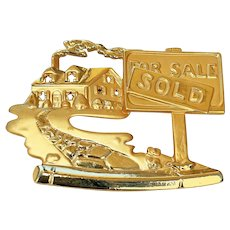 AJC signed House with Sold Sign Goldtone Brooch
