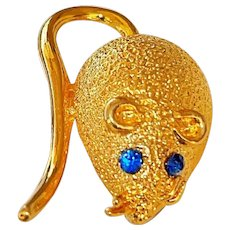 Cute Mouse Goldtone Brooch with Pretty Blue Rhinestone Eyes