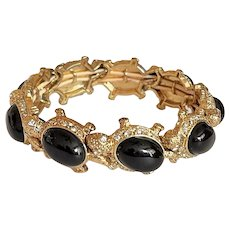Goldtone Turtles Stretch Bracelet with Black Centers and Rhinestones