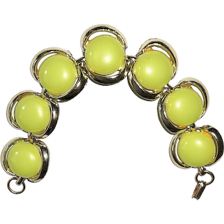 Pretty Silvertone Linked Bracelet with Pretty Yellow Acrylic Centers