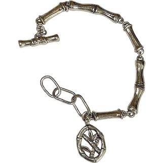 Silvertone Bamboo Linked Bracelet with Pretty Bamboo Charm