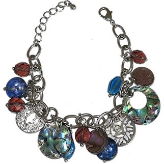Oval Linked Silvertone Bracelet with Filigree, Shell and Glass Beaded Charms
