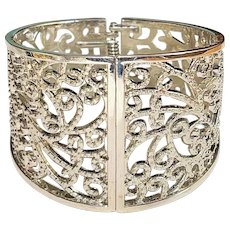 Wide Hinged Filigree Silvertone Bracelet