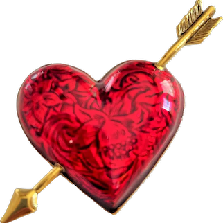 AVON signed Red Heart with Goldtone Arrow Brooch