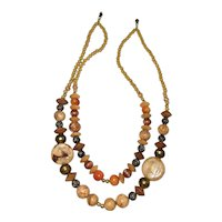 Multi Strand Ceramic, Stone and Brass Beaded Necklace