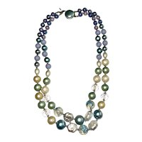 Multi Strand Cream, Pastel Blue and Green Beaded Necklace