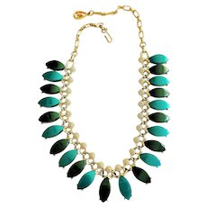 Teal and Dark Green Tear Drop with Goldtone Necklace