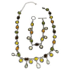 2 PIECE SET - Green  and Yellow Tear Drops and Silvertone Necklace with Matching Bracelet