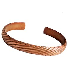 Copper Cuff Bracelet with Pretty Etched Design
