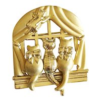 AJC signed Kitty Cats Looking out a Window Brooch